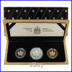 1989 Three-coin Set of 1oz Pure Silver Gold and Platinum Coins No Tax