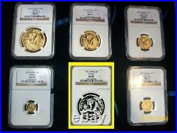 1993 CHINA GOLD PANDA 6 COINS NGC MS 70 COMPLETE perfect SET pop 1