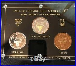 1995-96-Chicago Bulls 3 Coin Proof Set 24KT Gold Select Bronze Pure Silver