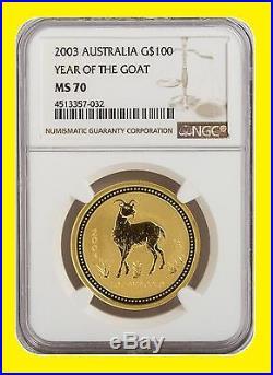 1996-2006 Australia Gold Lunar 6 Coins Set 6 Oz Pure Gold Ngc Ms 70 Series 1