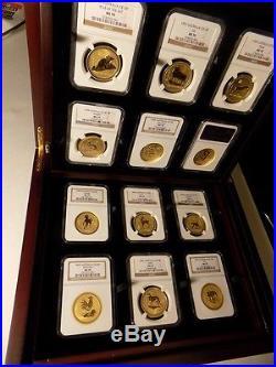 1996-2007 Australia Gold Lunar Set 12 Coins 12 Oz Pure Gold Ngc Ms 70 Series 1