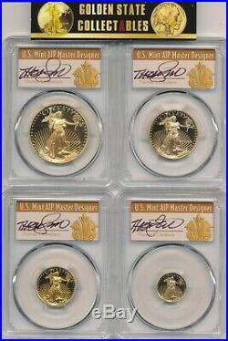 1997 W 4 Coin Proof Gold Eagle Set Pvgd Pr70dcam Cleveland Autographed Perfect