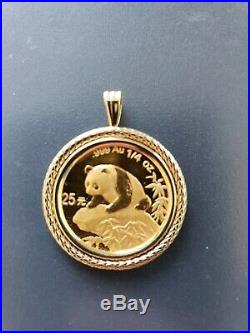 1999 1/4 ounce. 999 Pure Gold 25 Yuan panda coin Rare Date! Set in 14k bezel
