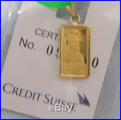 1GRAM PURE 999.9STATUE of LIBERTY GOLD BAR SET IN 14 KT SOLID GOLD BEZEL