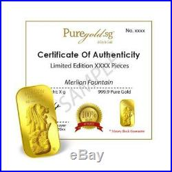 1g x 2 Merlion Fountain and SG Orchid set (Series 2) Gold Bar/ 999.9 Pure Gold