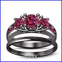 2.00 Ct Pink Sapphire 3-Stone Pure 925 Silver Black Gold Finish Bridal Ring Set