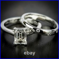 2.00Ct White Emerald Diamond Engagement 14K White Gold Perfect Bridal Set Ring