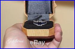 2.10 Crt Blue Sapphire Multi Stone Engagement Band Ring Set 14k Pure White Gold