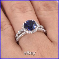 2.26 Ct Diamond Pure Blue Sapphire Gemstone Ring Set 14K White Gold Size 6, 7