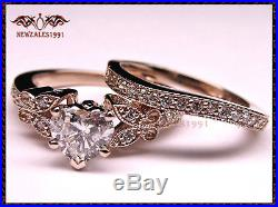 2.50 Ct Diamond Heart Shape Engagement Wedding Ring Set in 14k Pure Rose Gold