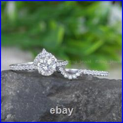 2.50CT Round Moissanite Bridal Set Engagement Ring Excellent Pure 14K White Gold