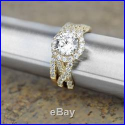2.50Carat Round Diamond Halo Bridal Set Engagement Ring In Pure 14K Yellow Gold