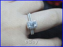 2.50Ct Emerald-Cut Diamond Halo Engagement Bridal Ring Set Pure 10K White Gold