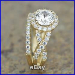 2.50Ct Round Diamond Halo Bridal Set Engagement Ring In Pure 14K Yellow Gold Fn