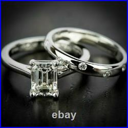 2.50Ct White Emerald Diamond Engagement 14K White Gold Perfect Bridal Set Ring