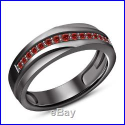 2.60 Carat Black Gold Over Red Garnet His & Her Wedding Trio Ring Set Pure 925