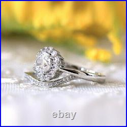 2 CT Bridal Set Moissanite Wedding Ring Pure 14k White Gold Round Cut Excellent