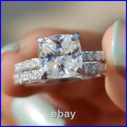 2 CT Cushion Cut Real Moissanite Engagement Ring Pure 14k White Gold Bridal Set