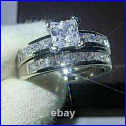 2 CT Moissanite Bridal Set Engagement Ring Princess Cut Pure 14K White Gold VVS1