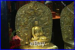 20.8 Tibet Temple Pure Bronze 24K Gold 5 Sakyamuni Shakyamuni Buddha Statue Set