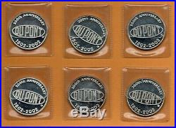 2002 FINE PURE SILVER DUPONT 200th Anniversary 24kt Gold Gilded ART (6 Coin SET)