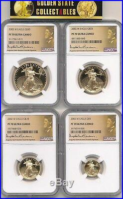 2002 W 4 Coin Proof Gold Eagle Set Ngc Pf70 Ultra Cameo Perfect Set & Slabs
