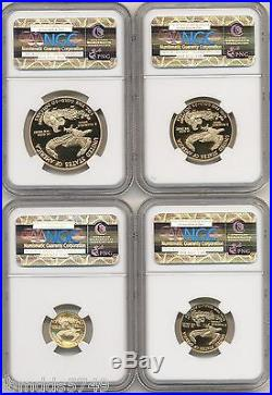 2003 W 4 Coin Gold Eagle Proof Set $50, $25, $10, $5 Ngc Pf70 New, Perfect Slabs