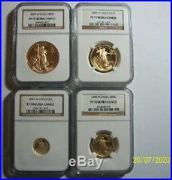 2005-W GOLD EAGLE COMPLETE 4 COINS SET $50 $25 $10 $5 PERFECT NGC PF 70 rare