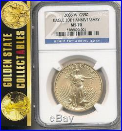 2006 W $50 Burnished Gold Eagle 20th Anniversary Set Ngc Ms70 Perfect