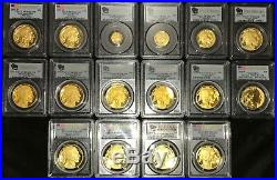 2006 to 2008 to 2019 Gold Buffalo proof set PCGS PR70 FS 18 coins all perfect