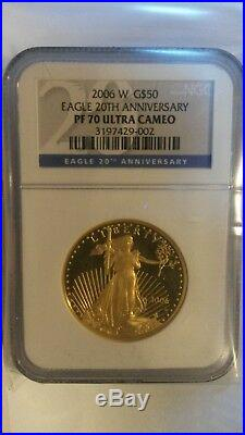 2006 w Gold 3 coin American Eagle set 20th Anniversary NGC 70 Perfect 70s