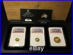 2007 Set of 3 Pure Gold Discover Australia Great White Shark NGC PF 70 Coins