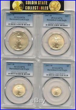 2007 W 4 Coin Burnished Gold Eagle Set Pcgs Sp70 Perfect Set, Holders