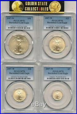 2007 W Burnished Gold Eagle 4 Coin Set Pcgs Sp70 Perfect New Slabs Tough In Pcgs