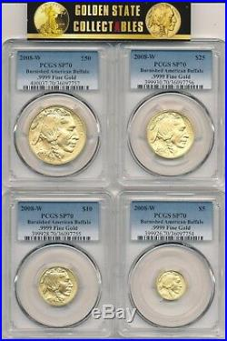 2008 W 4 Coin Burnished Gold Buffalo Set Pcgs Sp70 X 4 Coins New Slabs Perfect