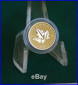 2010 CANADA Piedfort pure gold & silver 2 coin rev proof finish set in org case