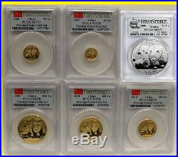 2010 CHINA pure GOLD&SILVER PANDA 6 COINS SET PCGS MS 70 FIRST STRIKE gauranteed