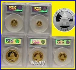 2010 CHINA pure GOLD SILVER PANDA 6 COINS SET PCGS MS 70 FIRST STRIKE guaranteed
