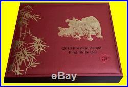 2010 China 1.9 Oz Pure Gold Panda Prestige 6 Coins Set Pcgs Ms 70 First Strike