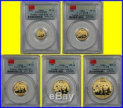 2010 China 1.9 Oz Pure Gold Panda Prestige 6 Coins Set Pcgs Ms 70 First Strike