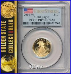 2010 W $10 Proof Gold Eagle Pcgs Pr70 Dcam First Strike Flag Label Perfect