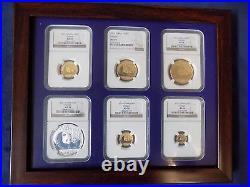 2011 China Gold Panda 6 Coins Perfect Ngc Ms 70 Complete 1 Rare Set