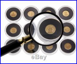 2012 World's Smallest Gold Coins Collection 12-Coin Pure Gold Set with Magnifier