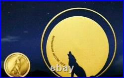2013 1/2 Oz Silver + 0.5g Pure Gold 500 Togrog MONGOLIAN WOLF Nature Coin Set