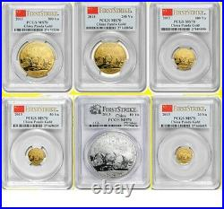 2013 China 3 Oz Pure Gold Silver Panda 6 Coins Set Pcgs Ms 70 First Strike