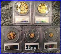 2013 Mexico Perfect PCGS PR70 DCAM 5 Coin Proof Gold Libertad Set