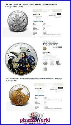 2014 $20 99.99% Pure Silver Legend Of Nanaboozhoo COMPLETE set Color+Gold Plate