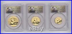 2014 CHINA PURE GOLD PANDA 5 COIN SET PCGS MS 70 Panda Label