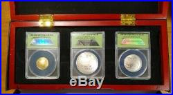 2014 National Baseball Hall Of Fame Perfect PR70 ANACS 3 Coin Gold Silver Set