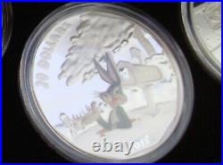2015 $20 Looney Tunes 99.99% Pure Silver 4-Coin Set and Watch